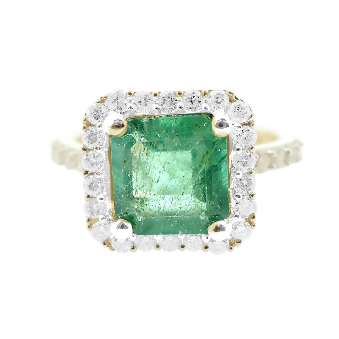 14K Yellow Gold 1.66ct Emerald 0.51ctw Diamond Ring