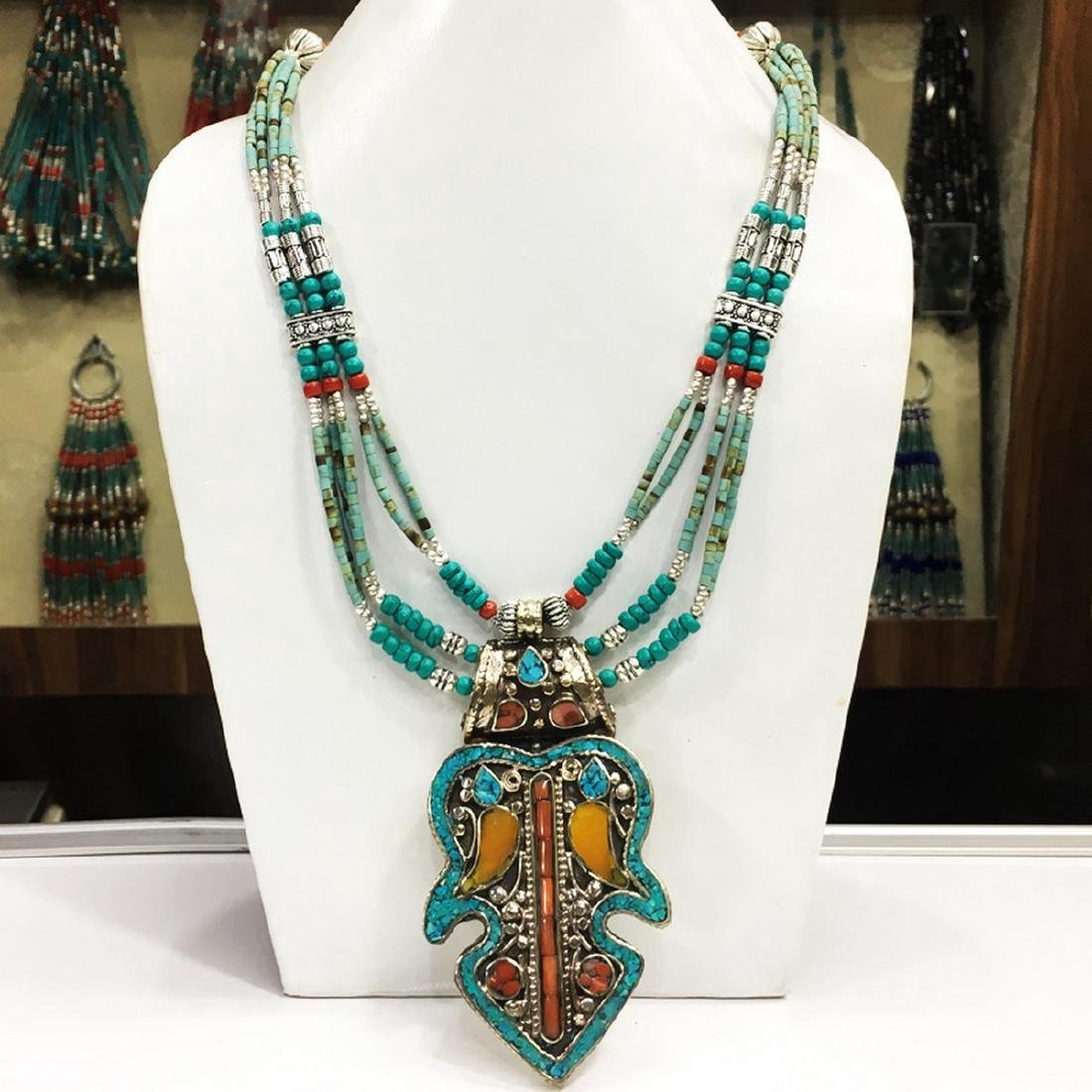 Tibetan Silver Women's Turquoise Coral Necklace