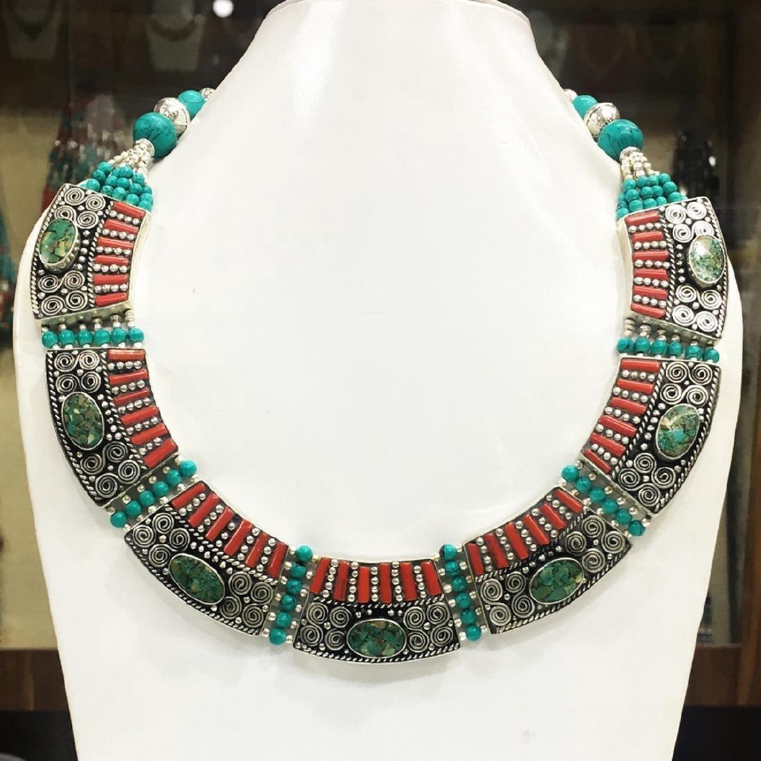 Tibetan Silver Turquoise Tribal Banjara Necklace