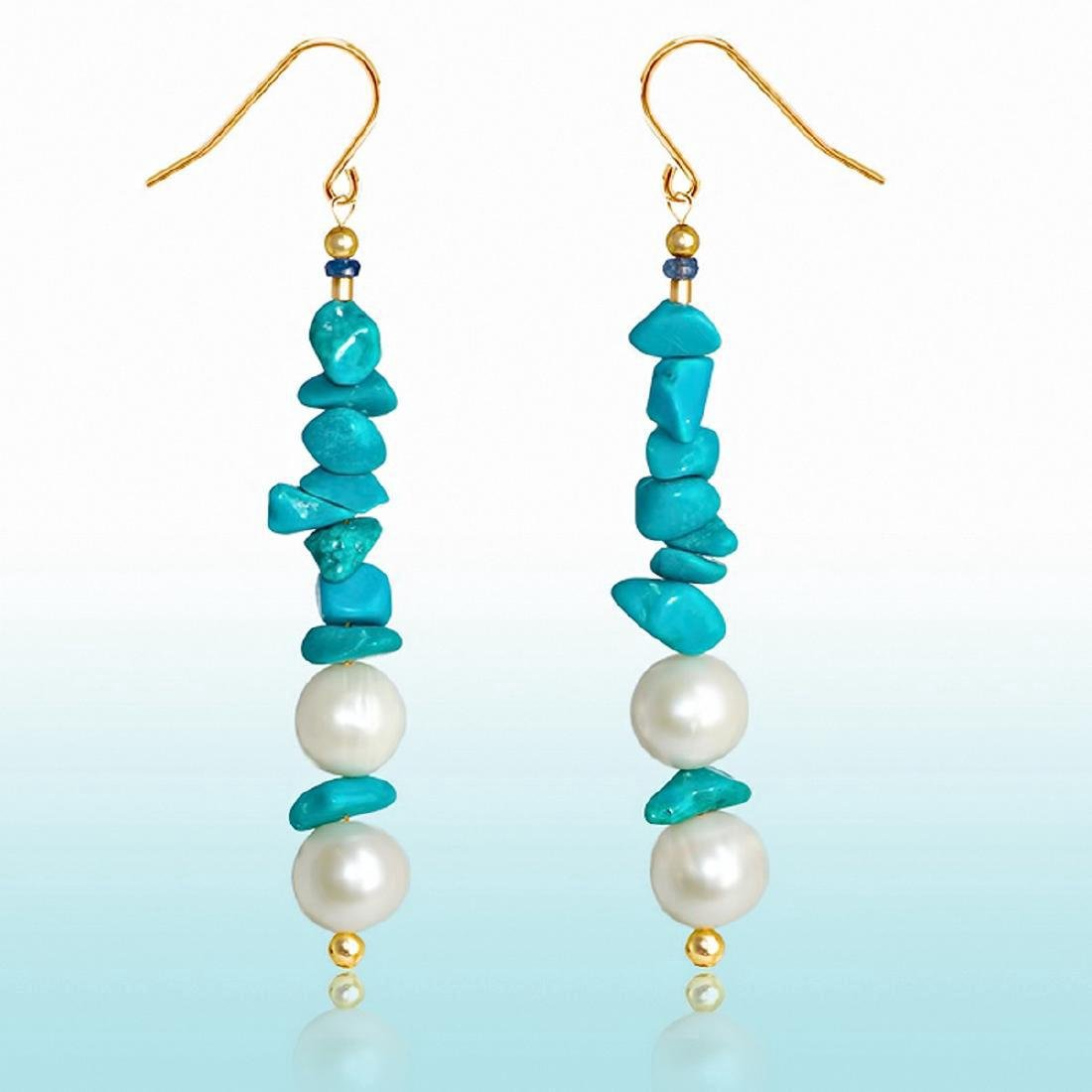 14K Gold Persian Turquoise Pearl Sapphire Earrings