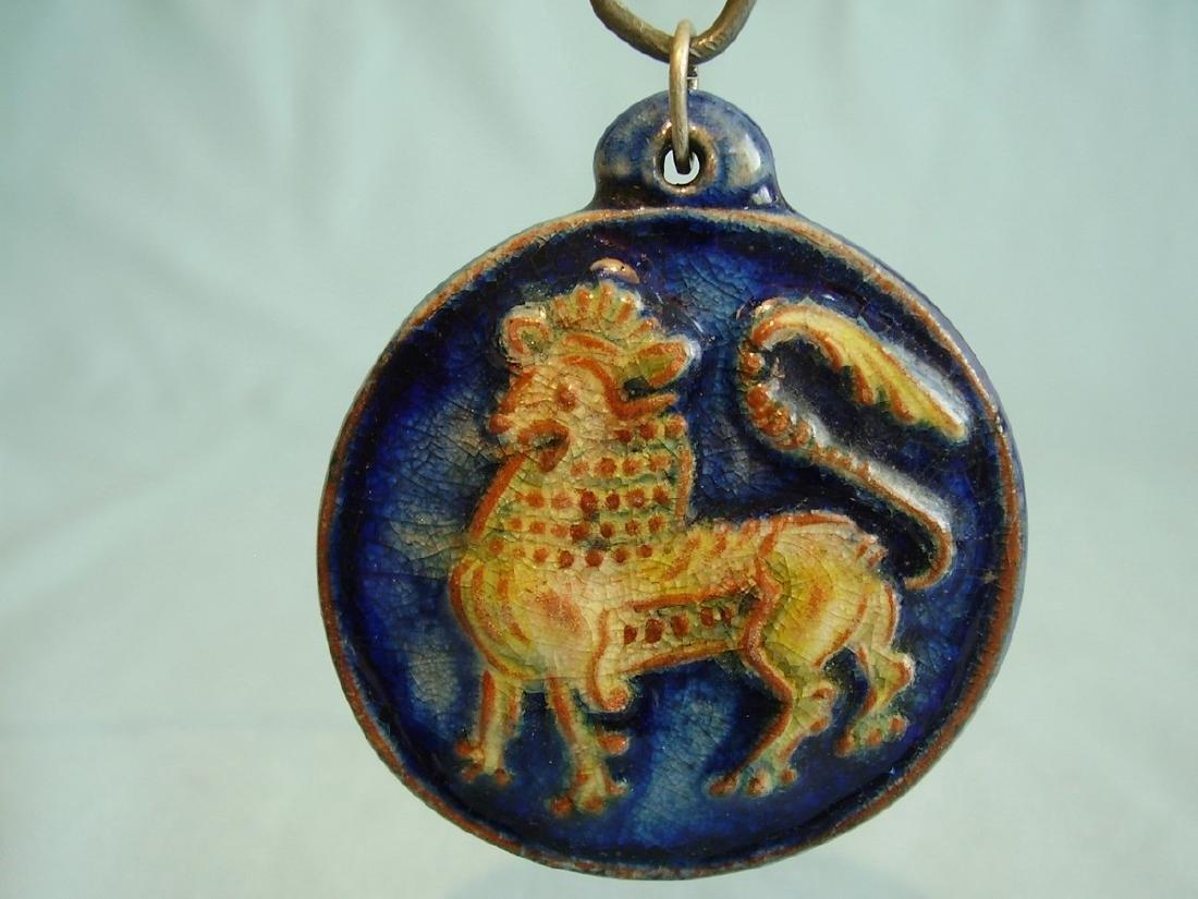 Art Deco Karlsruher Majolika Zodiac Lion Pendant