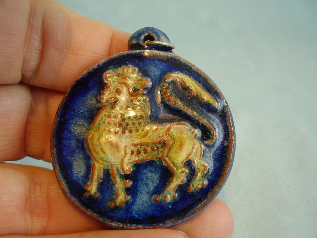 Art Deco Karlsruher Majolika Zodiac Lion Pendant - 2