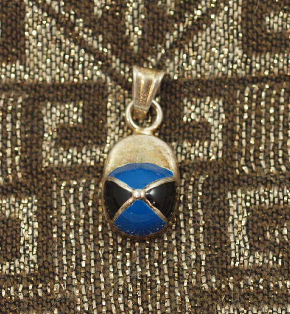 Vintage Black/Blue Enamel Pendant in Silver 925