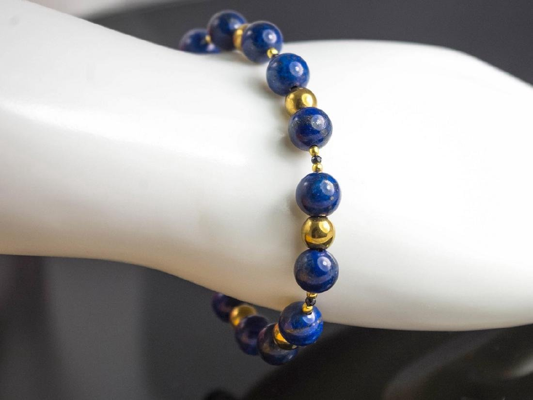 Vintage Style 14K Gold Lapis Lazuli Sapphire Bracelet
