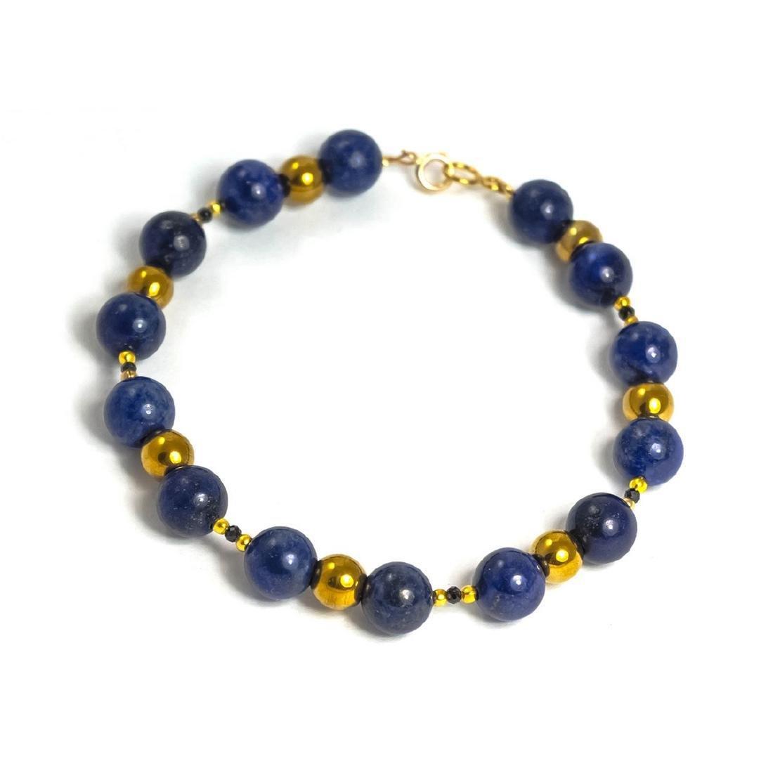 Vintage Style 14K Gold Lapis Lazuli Sapphire Bracelet - 2