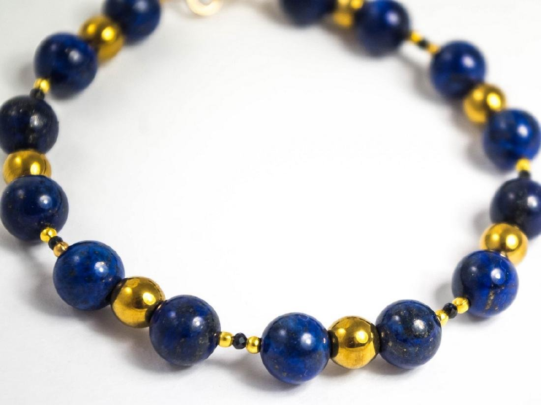 Vintage Style 14K Gold Lapis Lazuli Sapphire Bracelet - 3