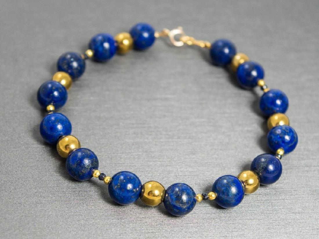 Vintage Style 14K Gold Lapis Lazuli Sapphire Bracelet - 4