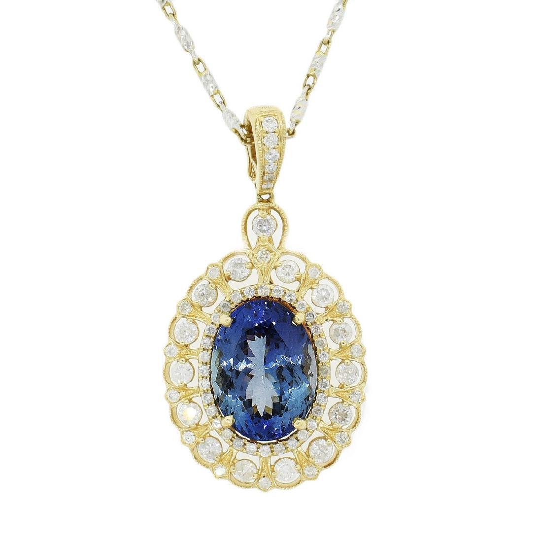 14K Gold 8.35ct Tanzanite 1.28ct Diamond Necklace
