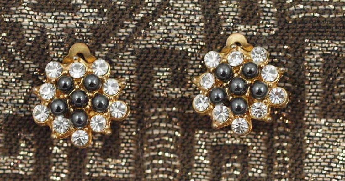 Gold Plated Hematite Crystals Earrings Art Deco