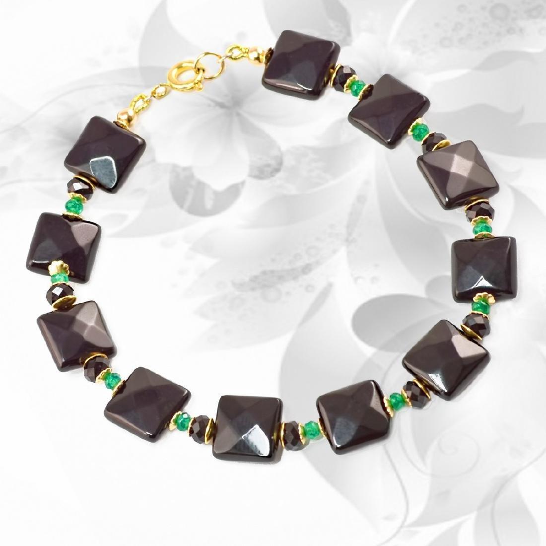 Vintage Style 14K Gold Black Onyx Jade Bracelet