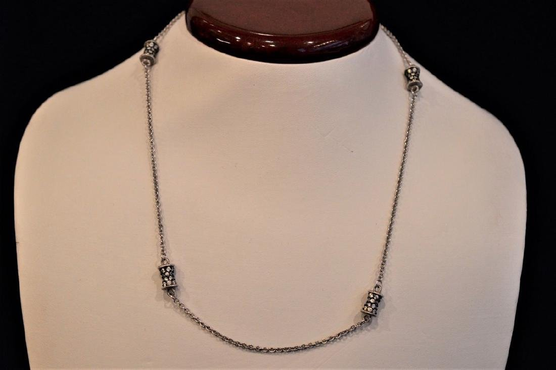 Judith Ripka Sterling Silver Barrel Station Necklace