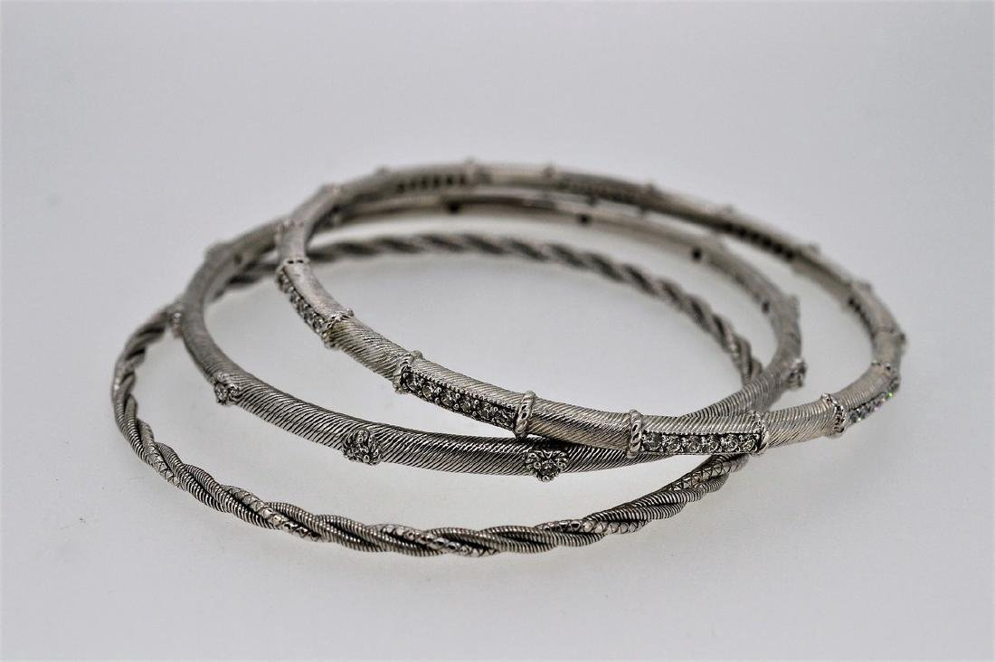 Judith Ripka Trio of Sterling Silver Bangle Bracelets