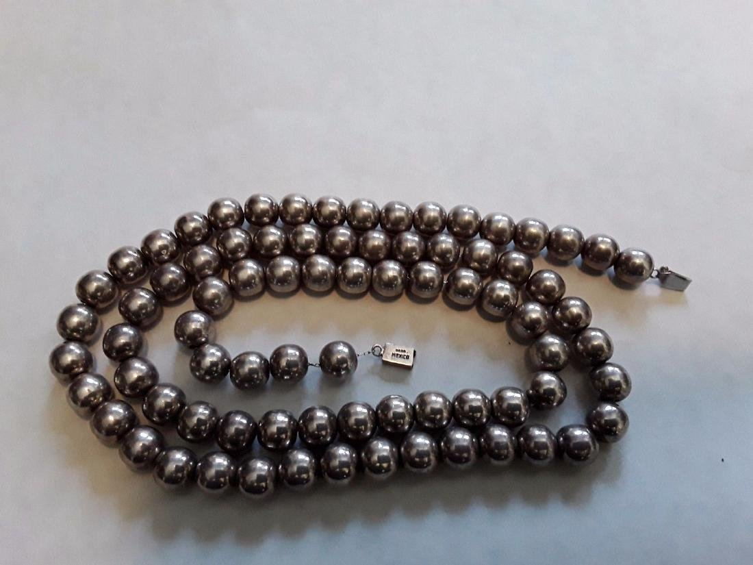 Vintage Mexico Sterling Silver 11mm Bead Necklace