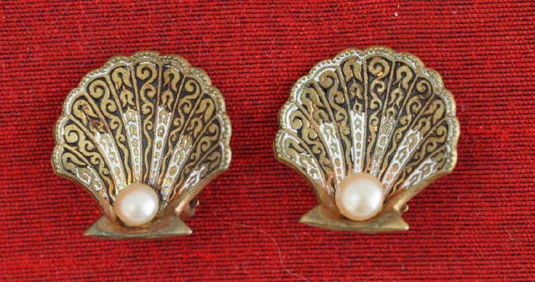 Faux Pearl Brass Earrings Original of Deco Period