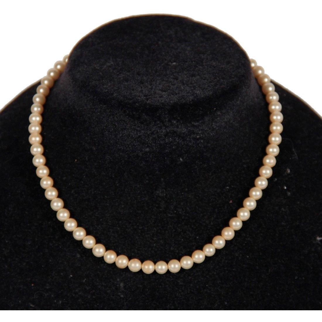 Trifari Vintage Single Strand Faux Pearl Necklace