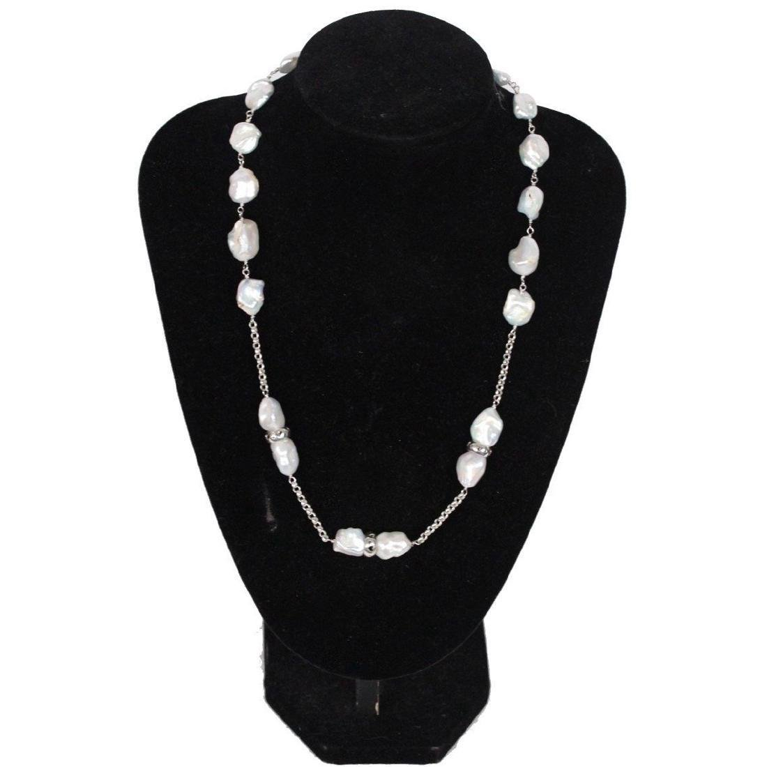 Sterling Silver & Baroque Pearls Necklace