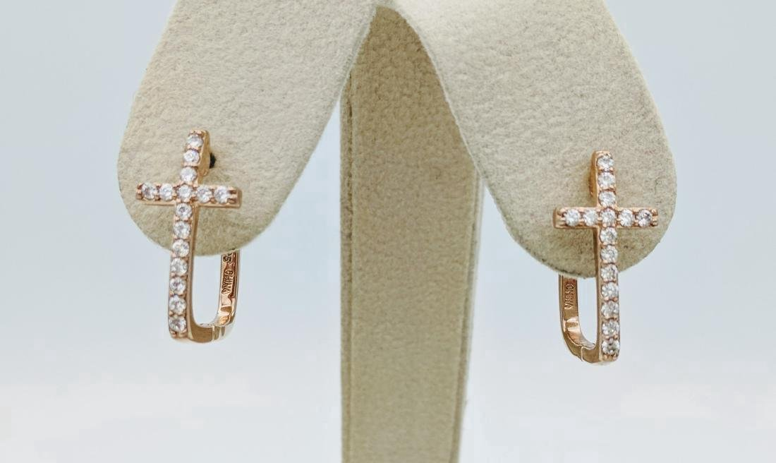Sterling Silver Rose Gold Plated CZ Cross Earrings