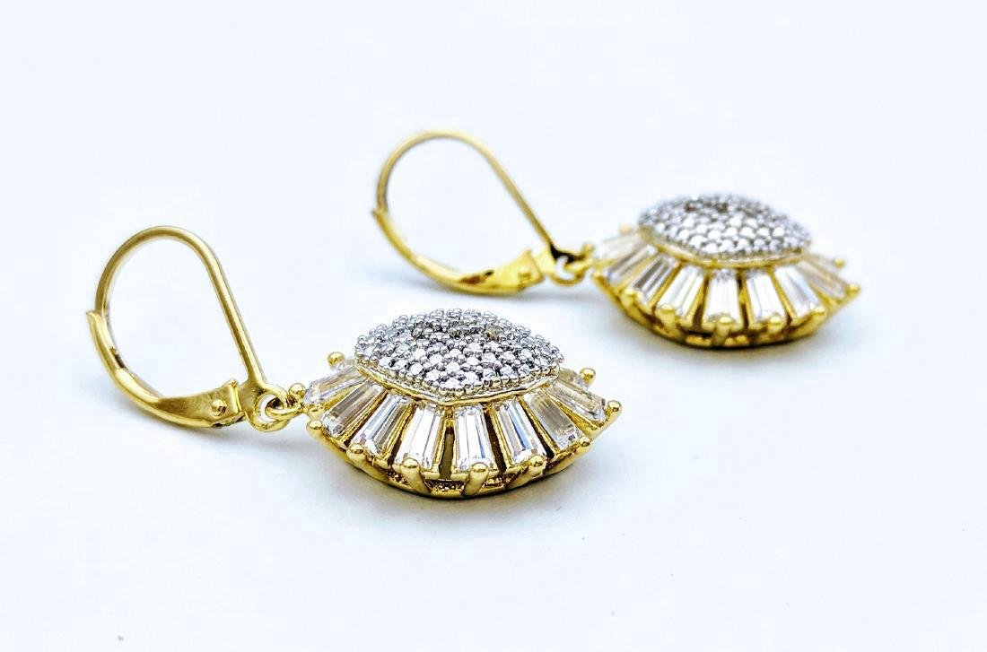 Gold Plated Sterling Silver Diamond CZ Earrings