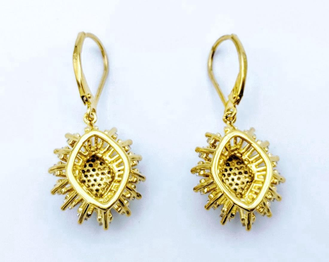 Gold Plated Sterling Silver Diamond CZ Earrings - 2