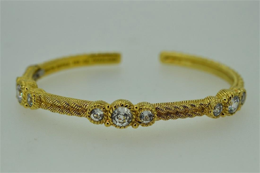 Judith Ripka Gold Clad Sterling Hinged Cuff Bracelet