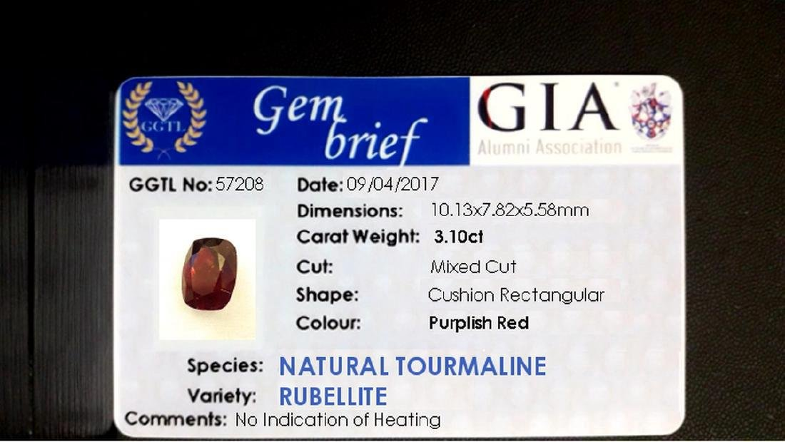 3.10ct GIA Cert. untreat. Rubellite Tourmaline