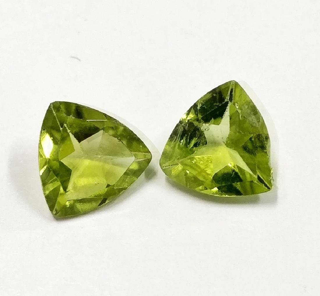 Couple of 2 Peridot Green 1.28 ct
