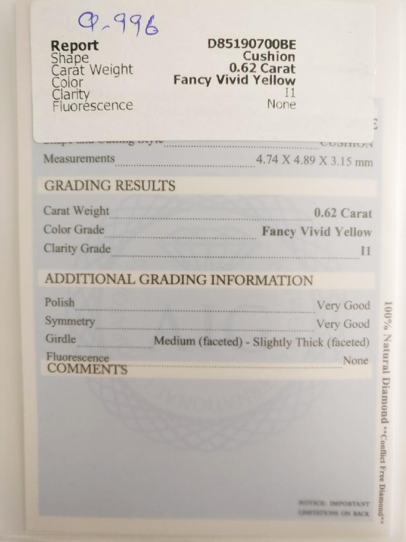 0.62 ct Cushion cut diamond Fancy Vivid Yellow I1 - 4