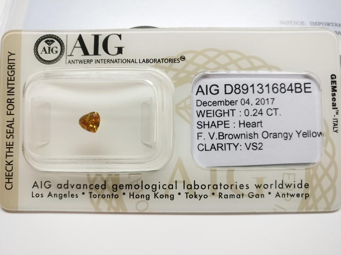 0.24 ct Heart cut diamond F.V.Br.Orangy Yellow VS2 - 2