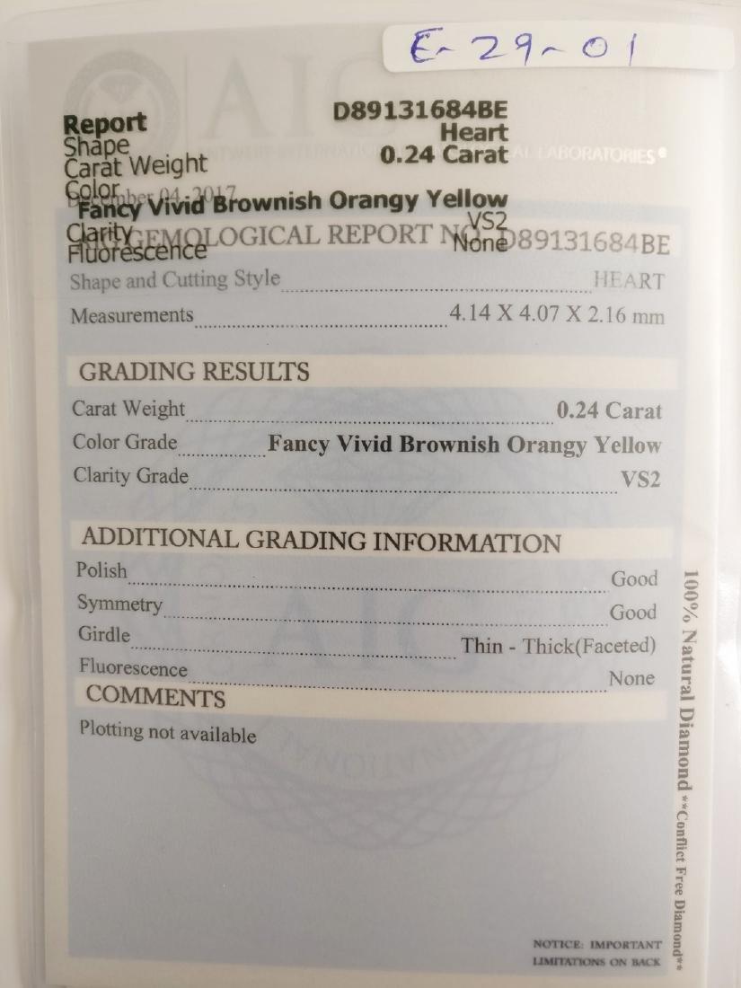 0.24 ct Heart cut diamond F.V.Br.Orangy Yellow VS2 - 4
