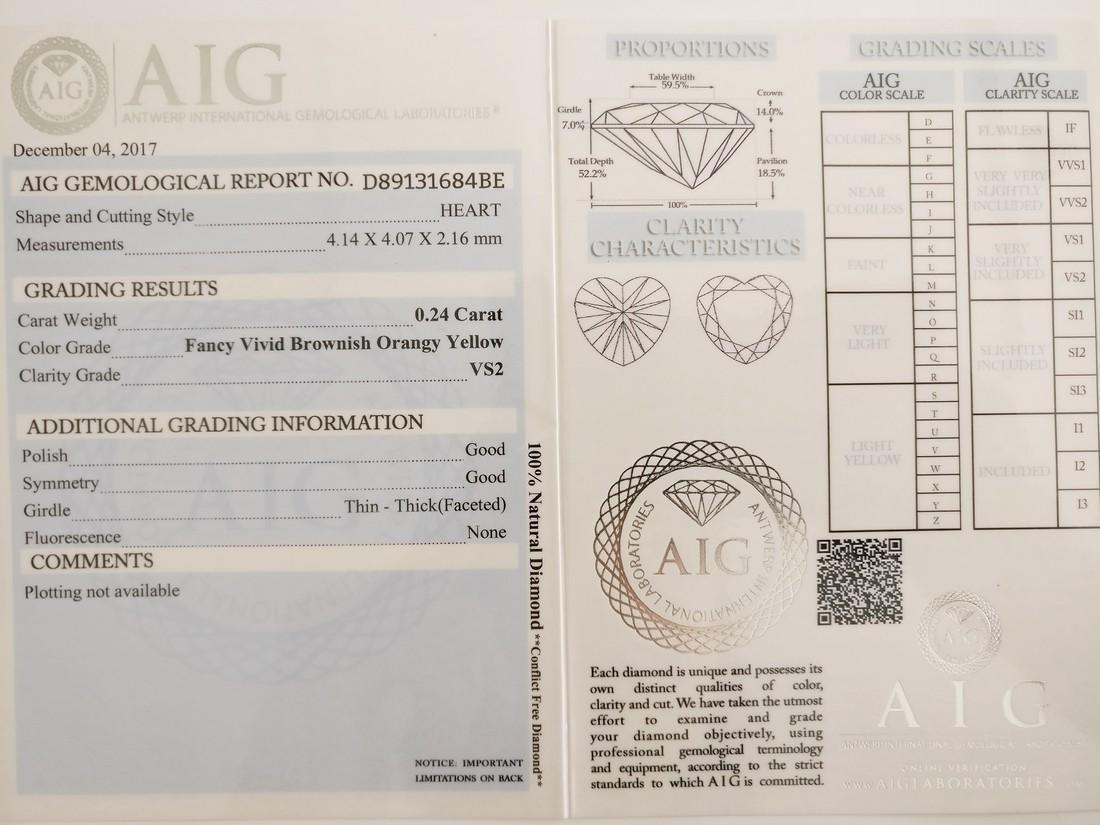 0.24 ct Heart cut diamond F.V.Br.Orangy Yellow VS2 - 5
