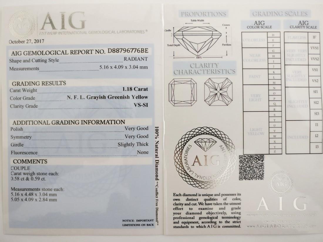 Couple of 2 Radiant cut diamonds total 1.18 ct - 5