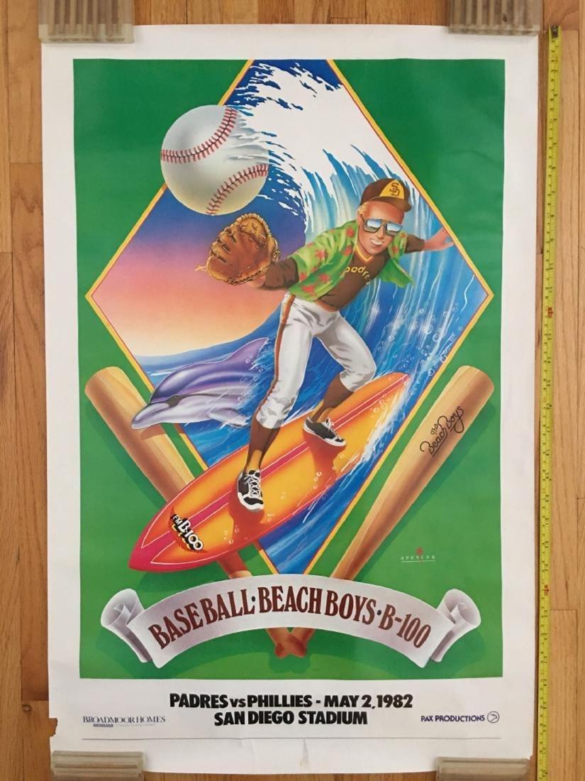 SUPER RARE BEACH BOYS SAN DIEGO PADRES POSTER - 1982