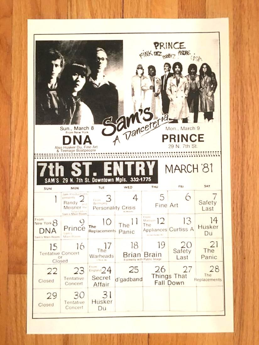 RARE ! PRINCE IN CONCERT FIRST AVE CALENDAR FLYER !
