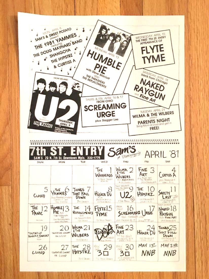 U2 - FAMOUS FIRST USA TOUR - FLYER FROM FIRST AVE! RARE