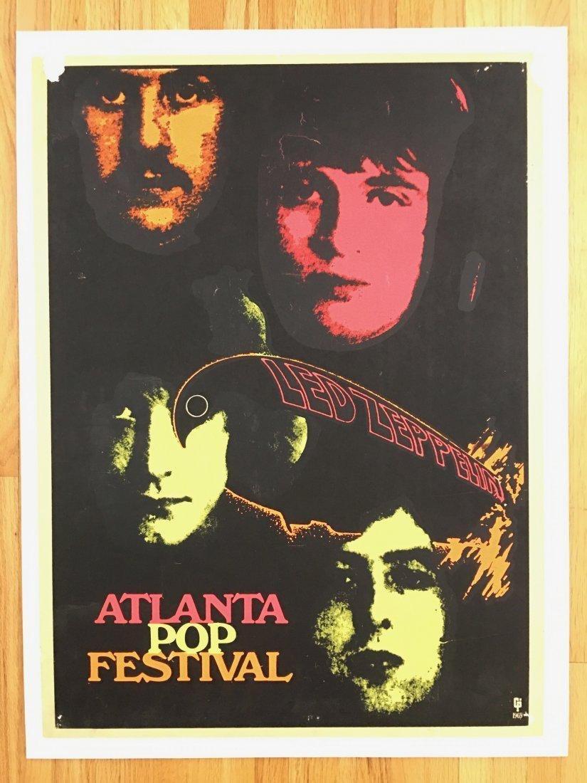 PAINFULLY RARE 1969 Led Zeppelin Atlanta Pop Poster - 2