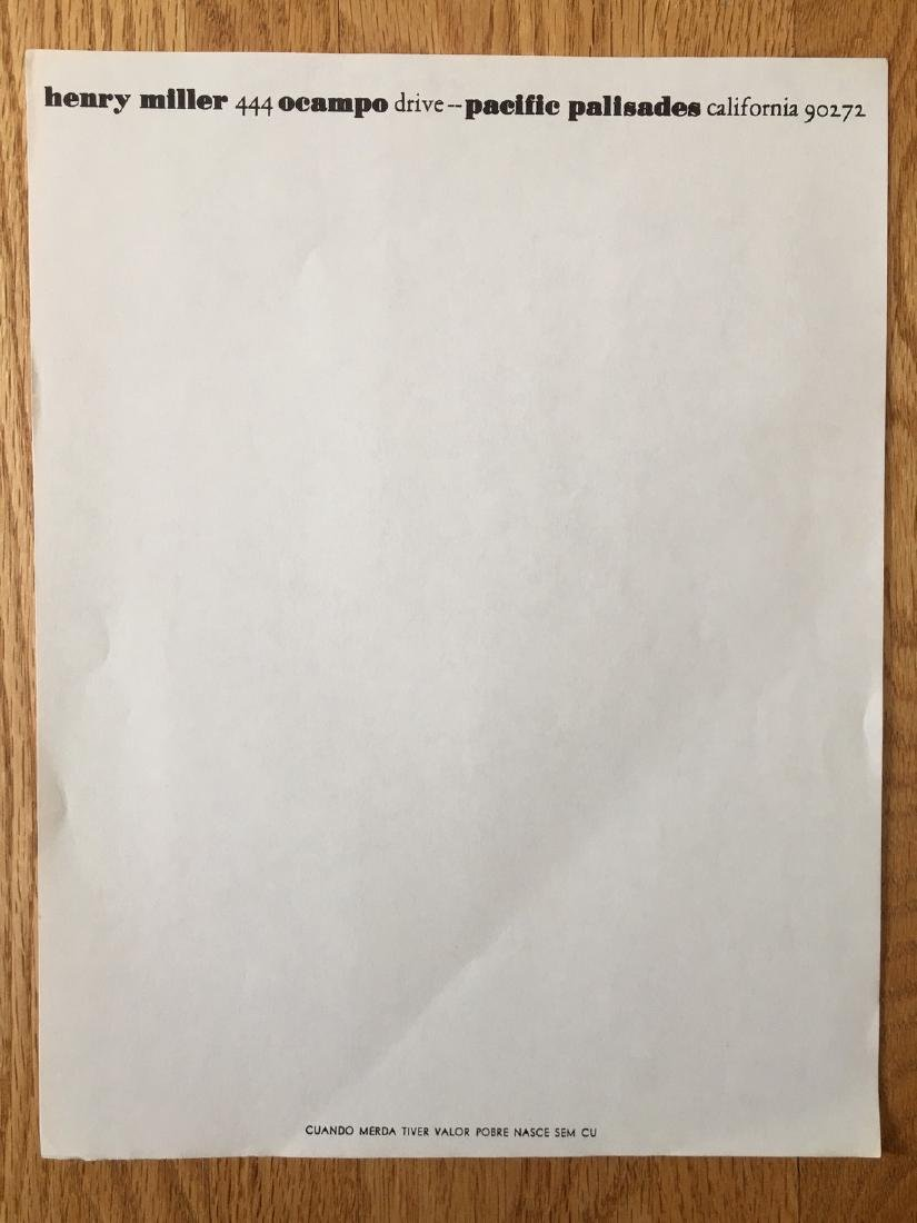 HENRY MILLER UNUSED LETTERHEAD AND NOTE PAPER- 1969