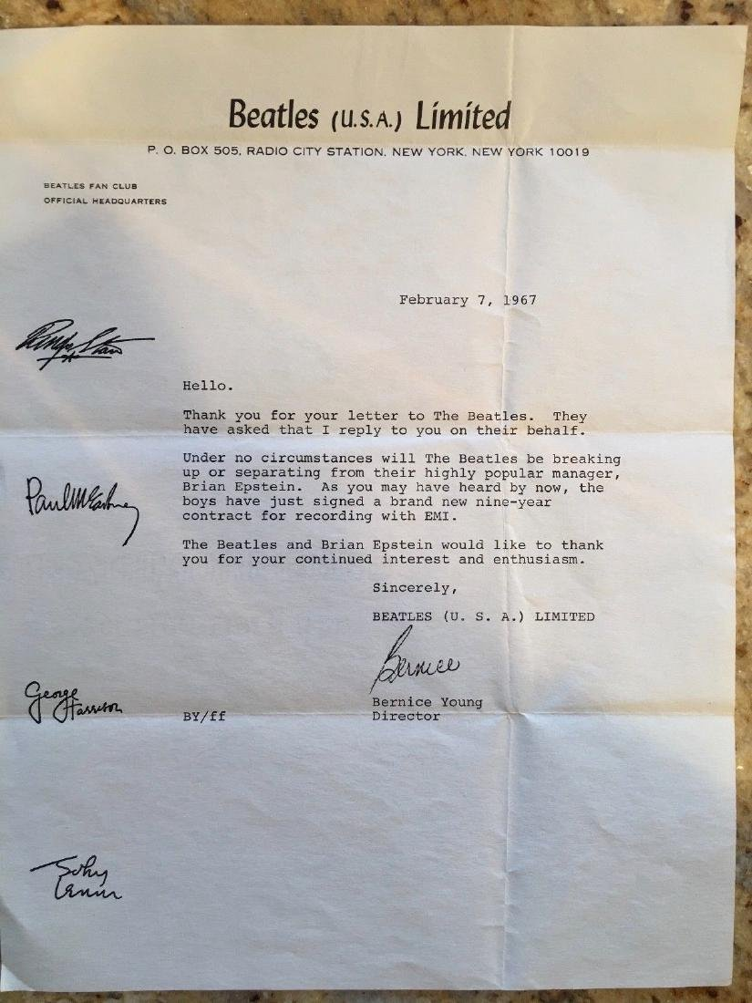 RARE - BEATLES ARE NOT BREAKING UP - LETTER & MORE