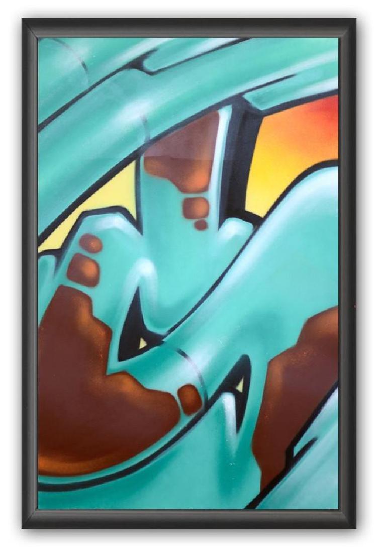 "GRAFFITI ARTIST SEEN - ""Subway S"" Painting on paper"