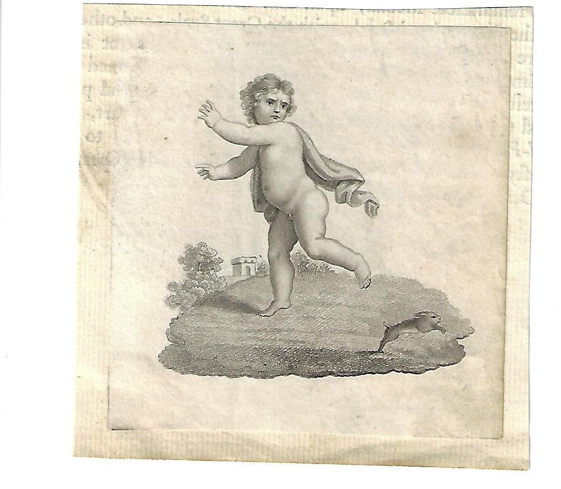 18th C Engraving of a Cupid