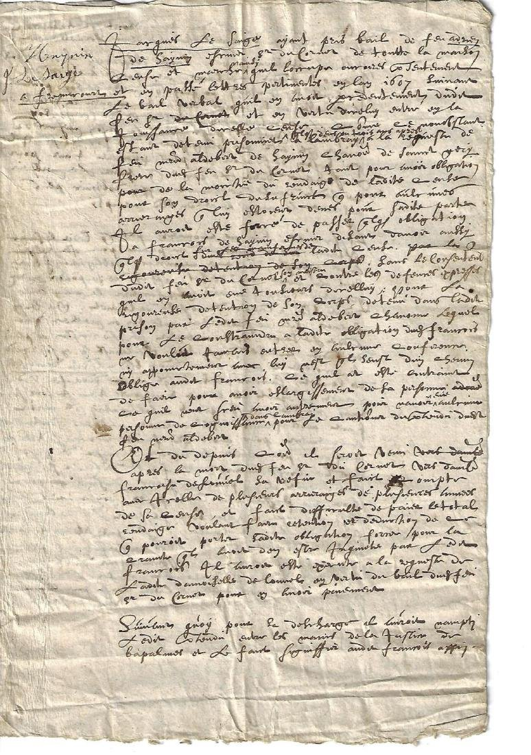 1607 French Manuscript Legal Document