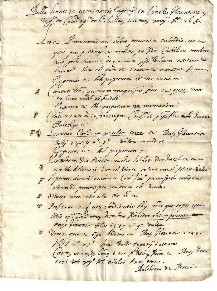 c1600 Manuscript List Papal Bulls Holy See Rome Signed