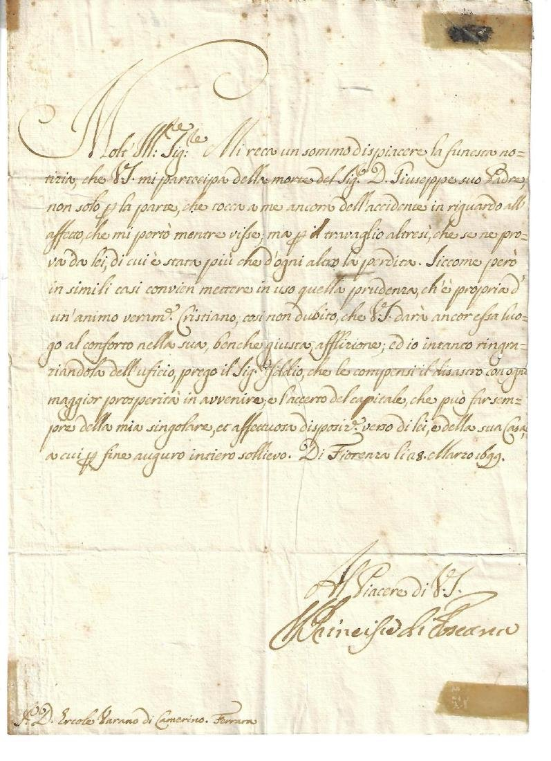 1699 Letter Ferdinand di Medici Address Panel w/ Seal