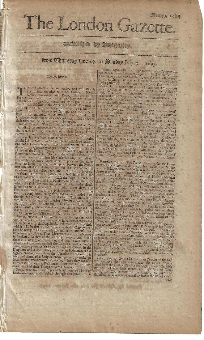 1693 London Gazette Spanish Armada