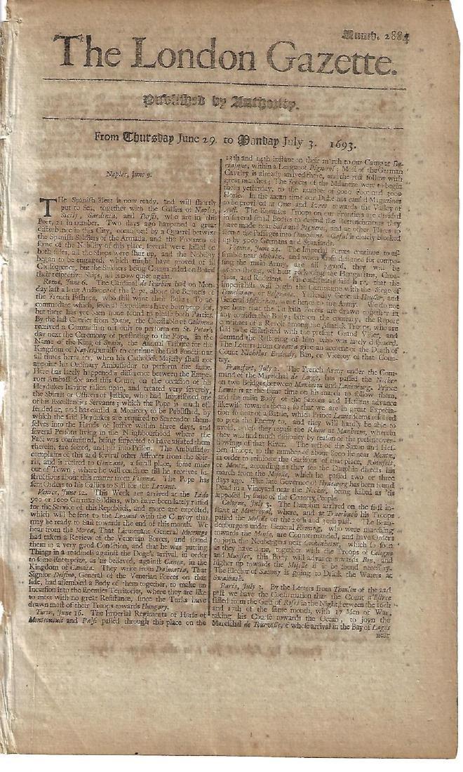 1693 London Gazette Spanish Armada