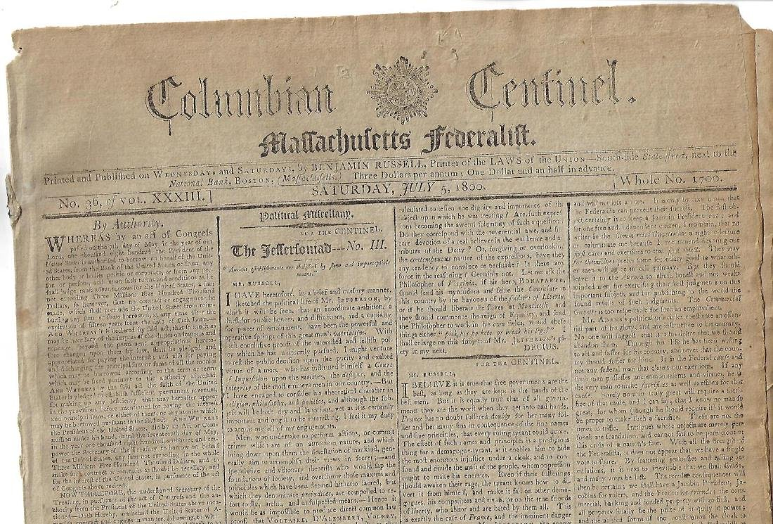 July 5 1800 Federalist Newspaper Anti-Jefferson Ads