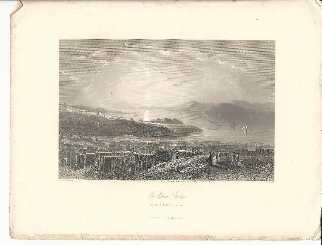 1873 Engraving Telegraph Hill San Francisco