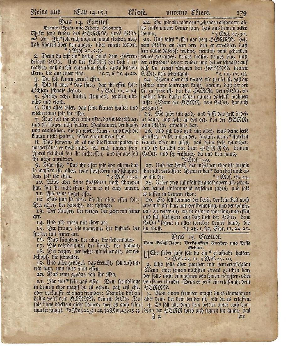 1776 Revolutionary War Gun-Wad Bible Leaf Saur