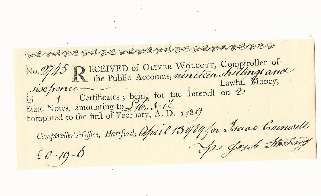 1789 Treasury Receipt Connecticut
