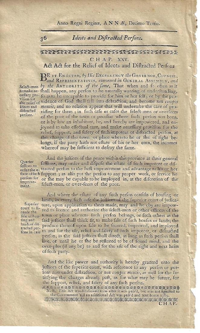 1771 Colonial New Hampshire Act Idiot Distracted Person