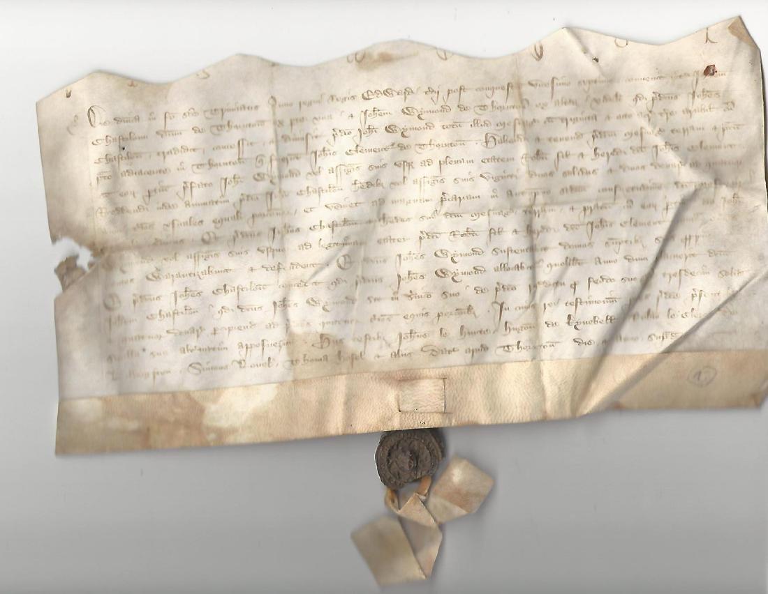 1354 Medieval English Vellum Deed w/ Original Seal